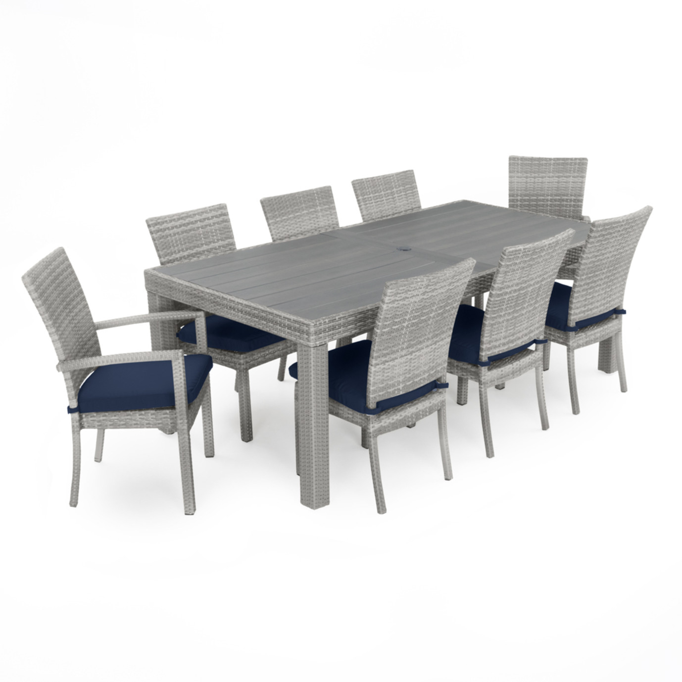 Blue Kitchen Table Set: Cannes Woven Dining Set - Navy Blue