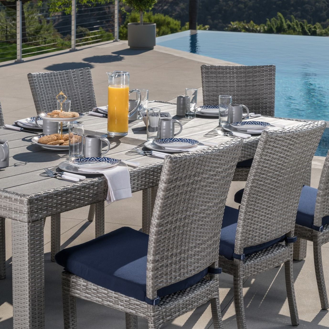 Cannes Woven Dining Set Navy Blue Rst Brands