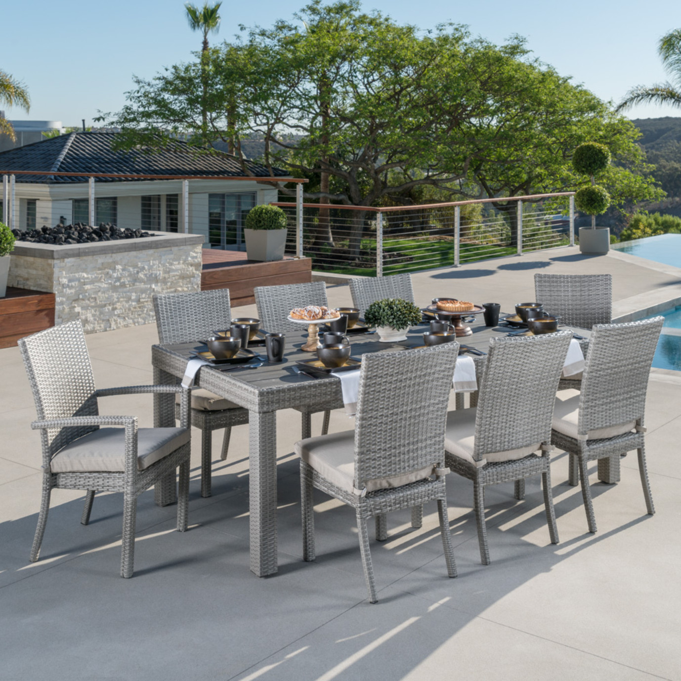 Cannes™ Woven Dining Set - Slate Gray