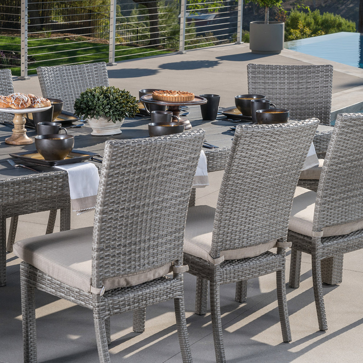 Cannes Woven Dining Set Slate Grey Rst Brands