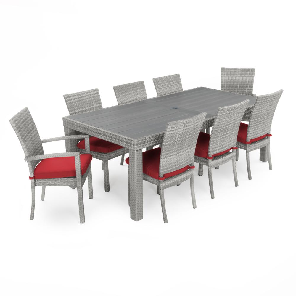 Cannes 9pc Dining Set - Sunset Red