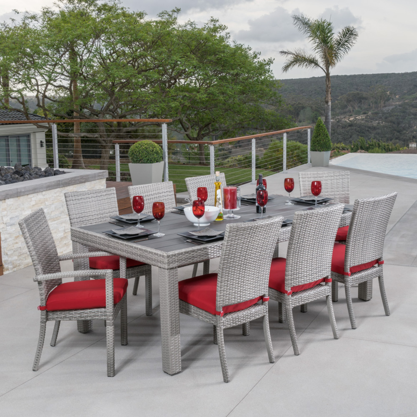 Cannes™ Woven Dining Set - Sunset Red