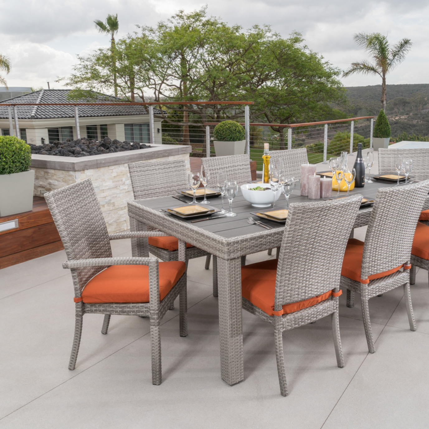 Cannes™ Woven Dining Set - Tikka Orange