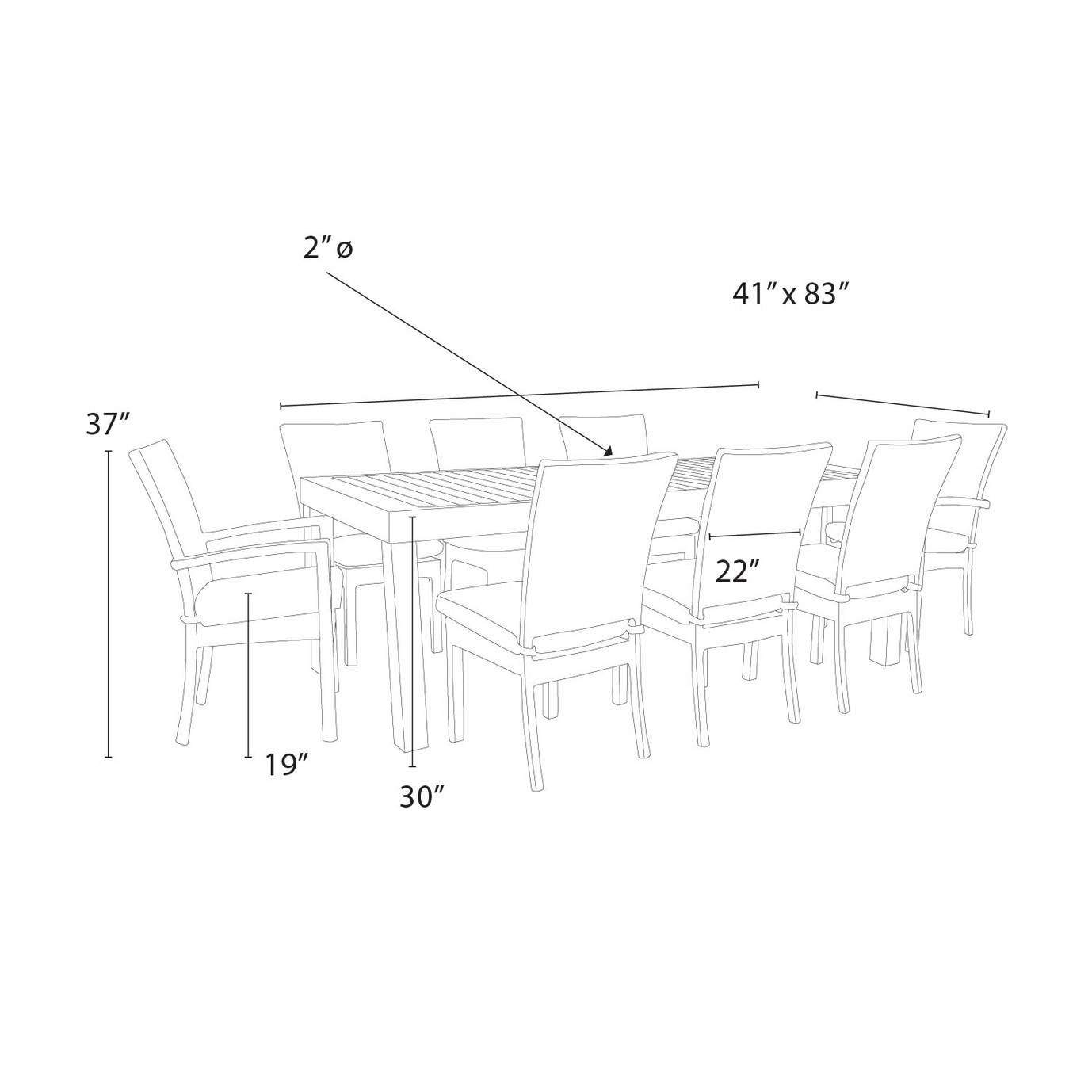 Deco™ 9pc Dining Set - Charcoal Grey