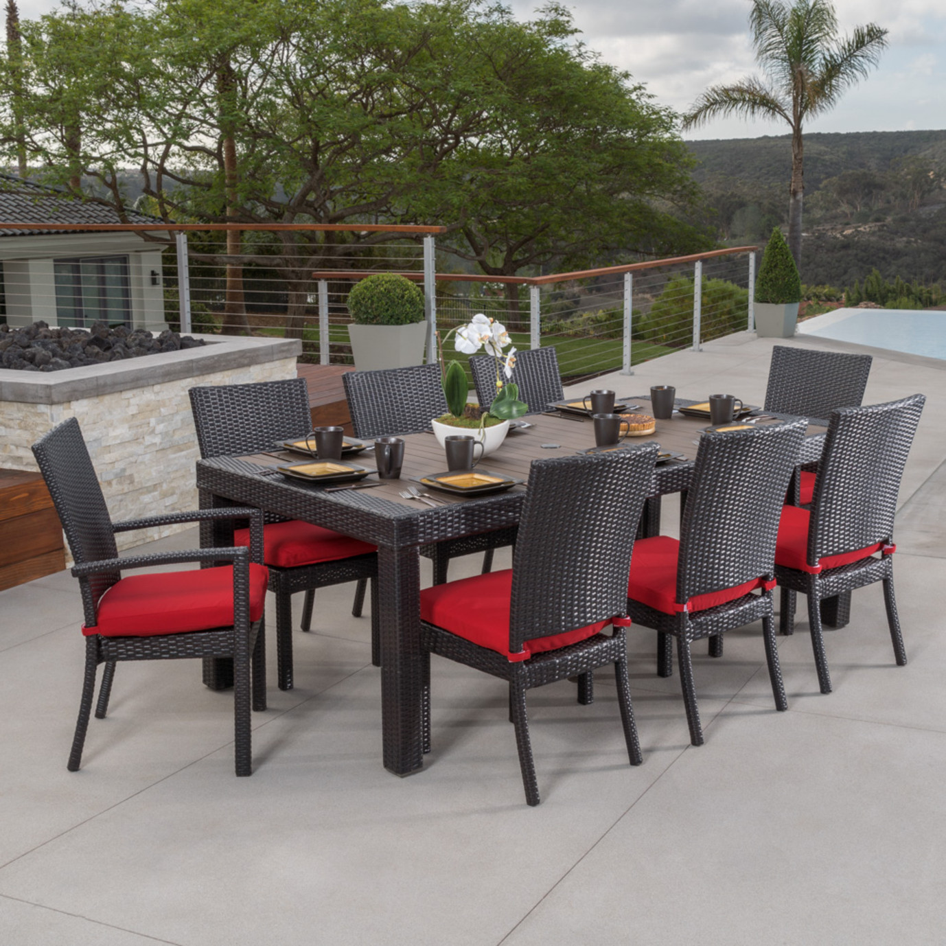 Deco™ 9 Piece Dining Set - Sunset Red