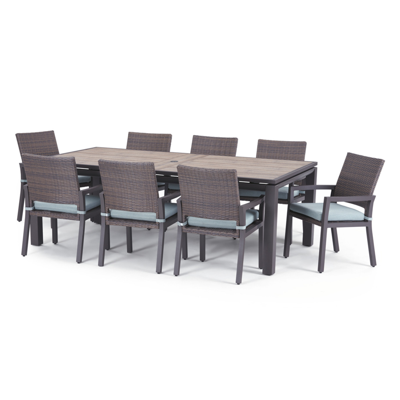 Milea 9 Piece Dining Set - Mist Blue