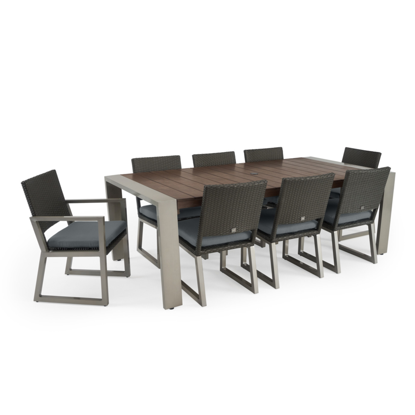 Milo™ Espresso 9 Piece Dining Set - Charcoal Gray