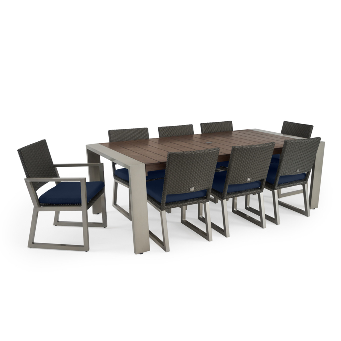 Milo™ Espresso 9 Piece Dining Set - Navy Blue