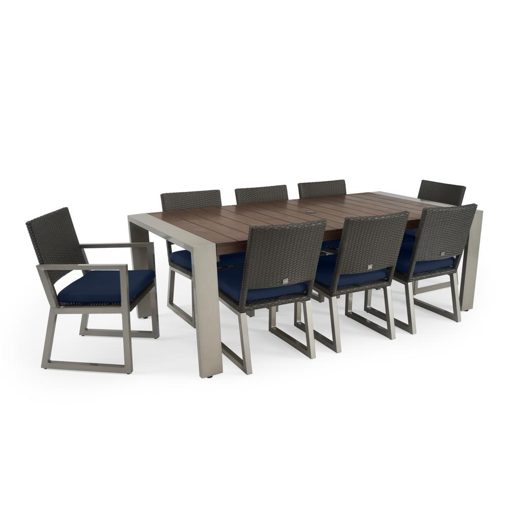 ... Milo™ Espresso 9pc Dining Set   Navy Blue ...