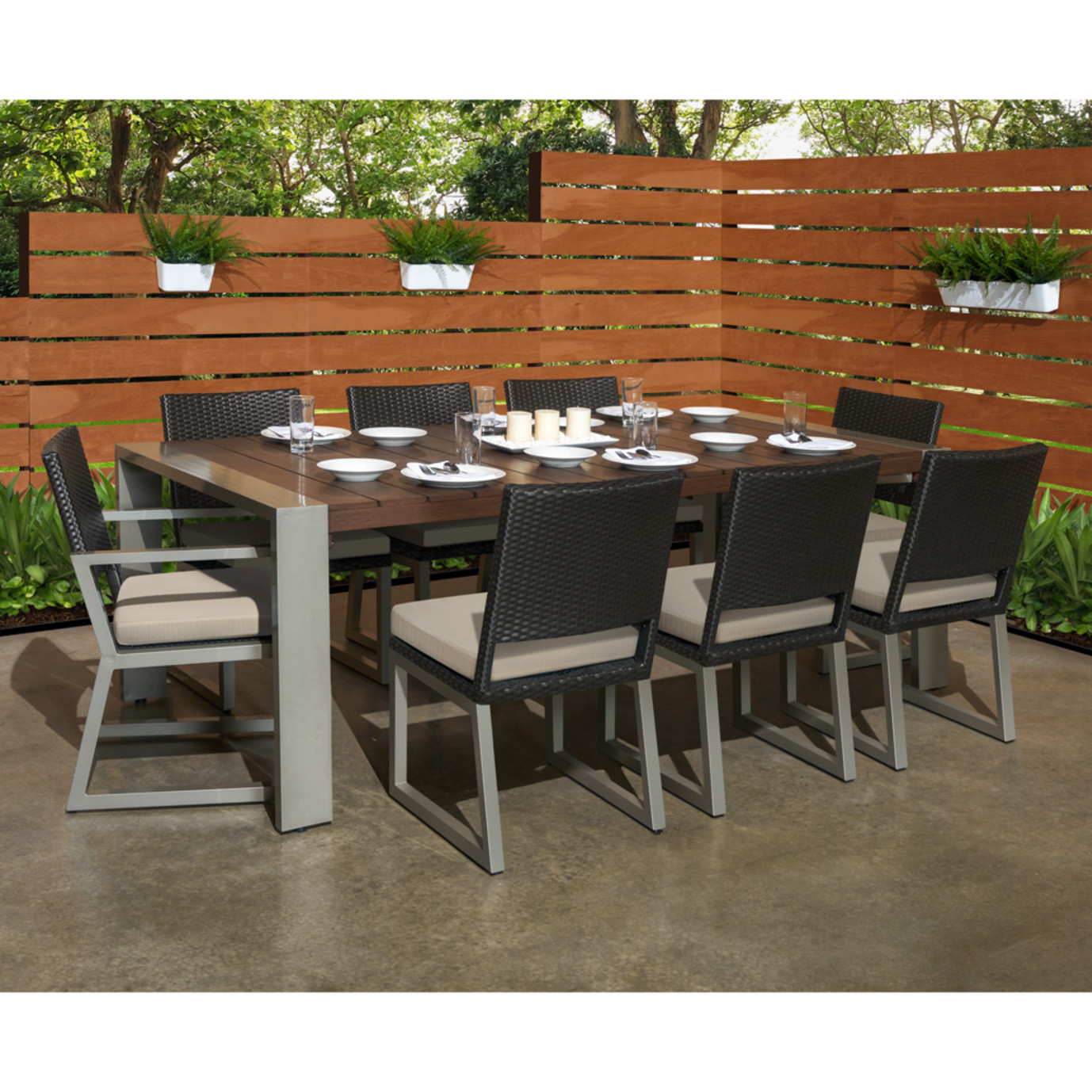 Milo™ Espresso 9pc Dining Set - Slate Gray