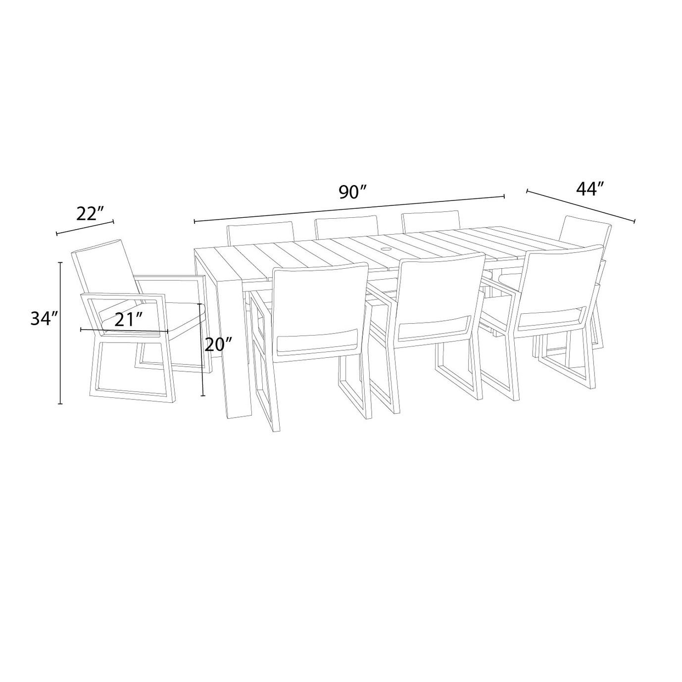 Milo™ Espresso 9pc Dining Set - Slate Gray