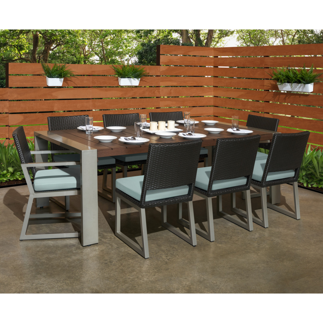 Milo™ Espresso 9pc Dining Set - Spa Blue