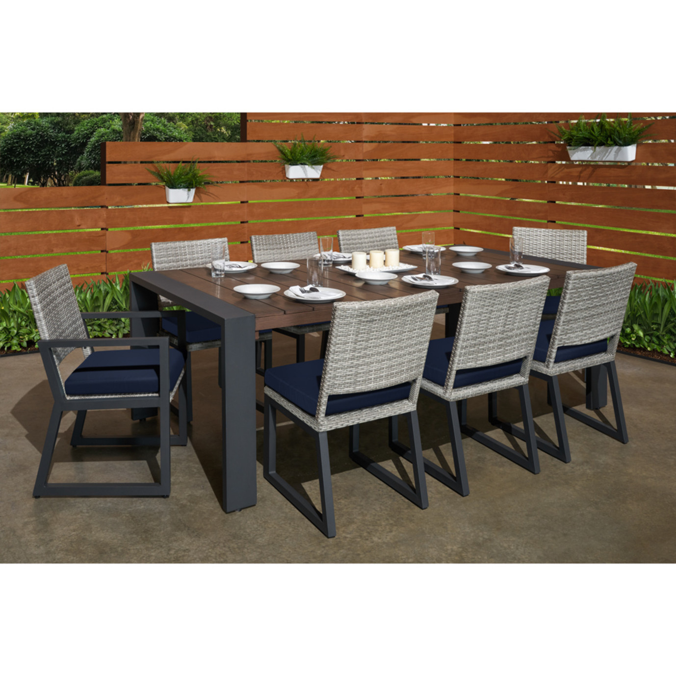 Milo™ Gray 9pc Dining Set - Navy Blue
