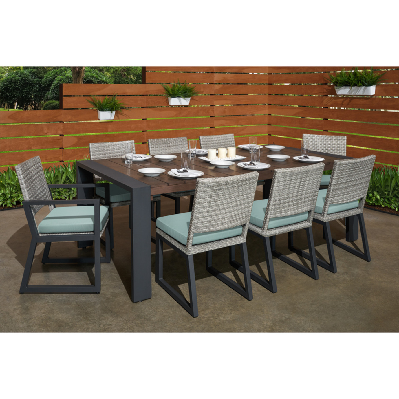Milo™ Gray 9pc Dining Set - Spa Blue