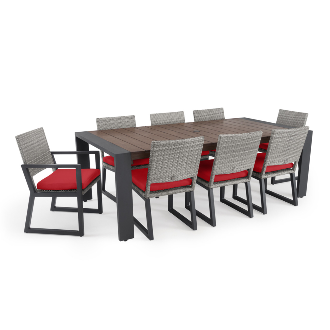 Milo™ Gray 9pc Dining Set - Sunset Red