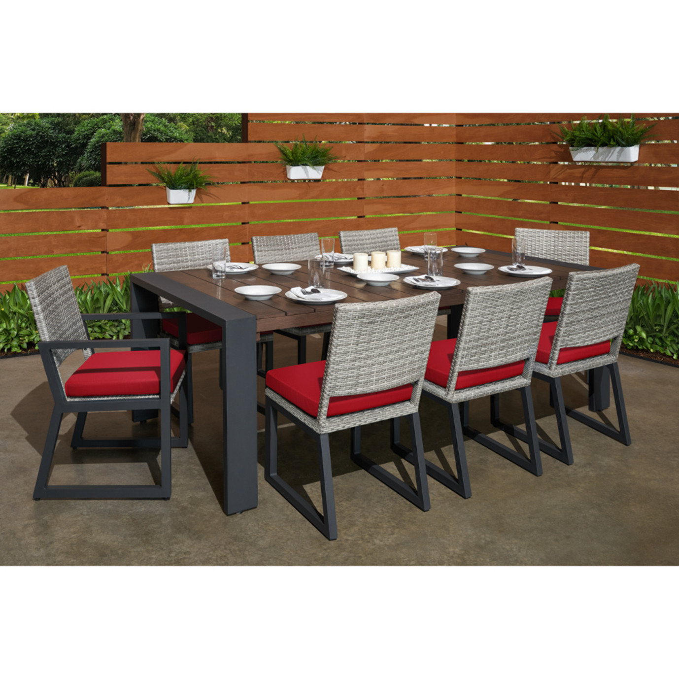 Milo™ Gray 9 Piece Dining Set - Sunset Red