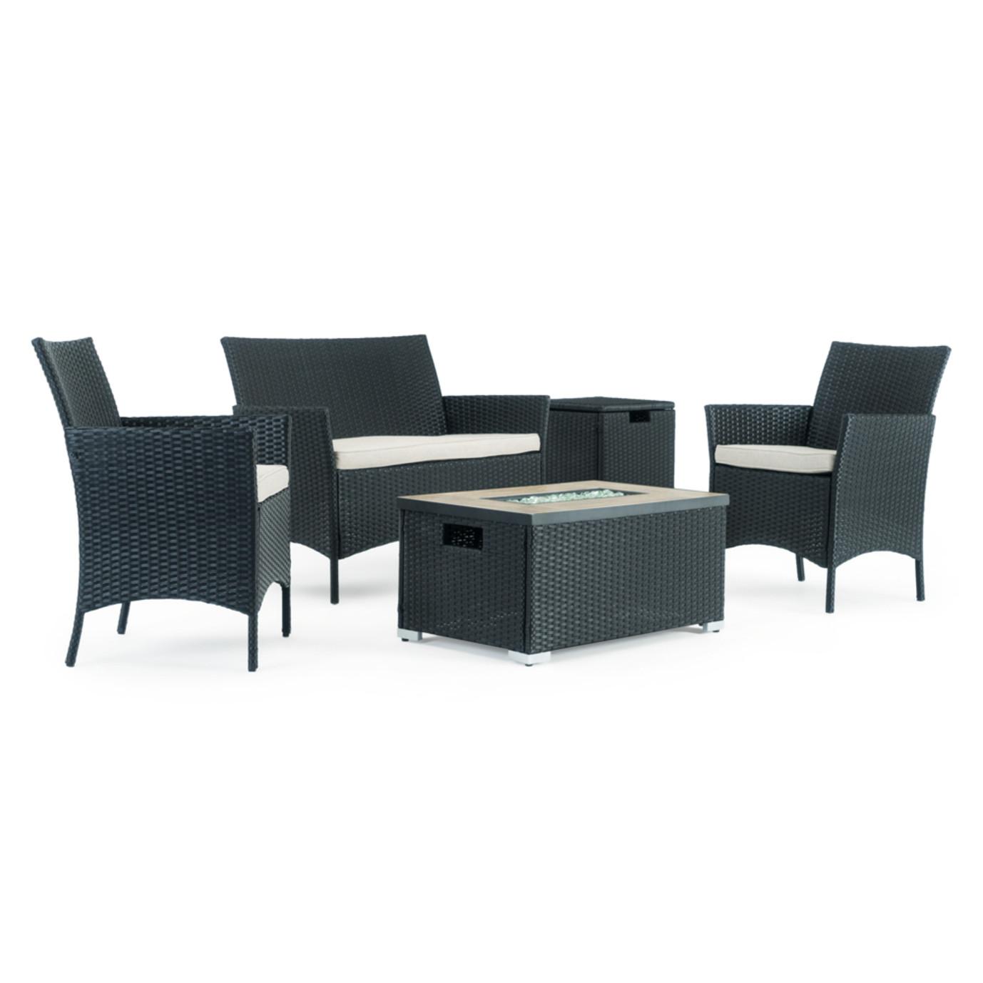 Kanab 4 Piece Fire Seating Set - Black