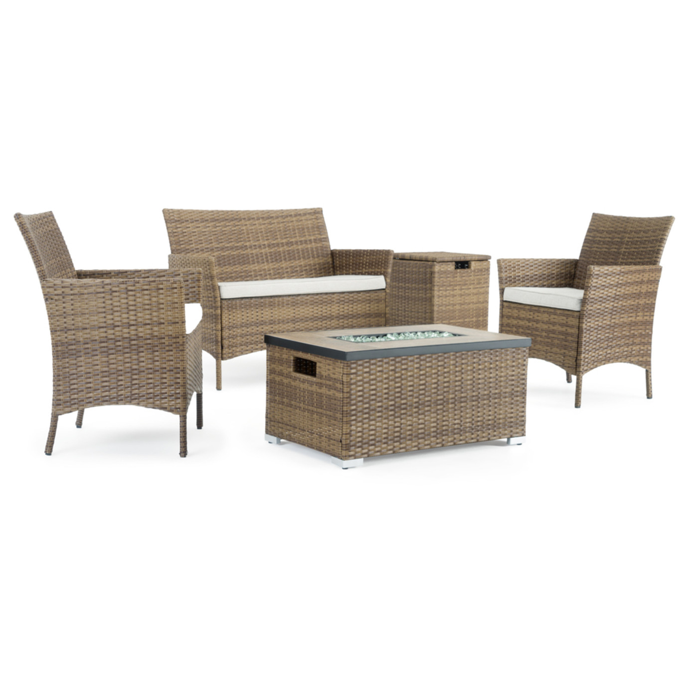 Kanab 4 Piece Fire Seating Set - Brown