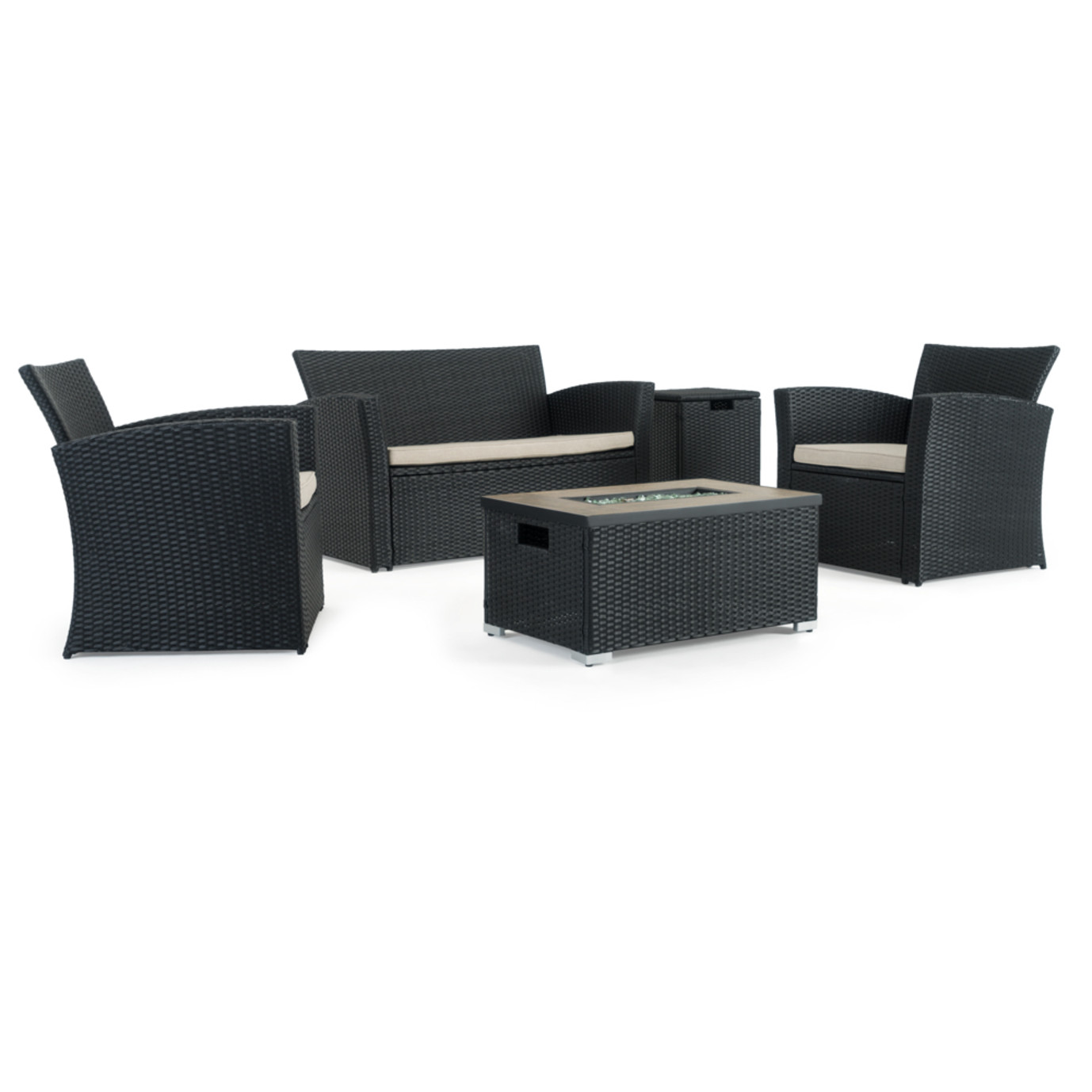 Sego Lily™ Magna 4 Piece Fire Seating Set - Black