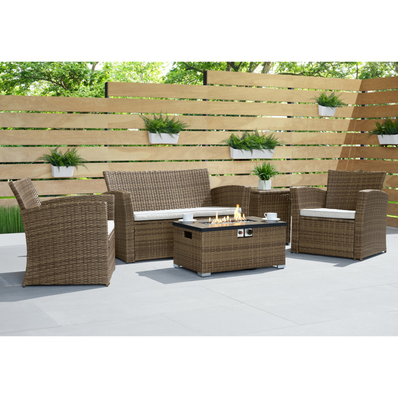 Sego Lily™ Magna 4 Piece Fire Seating Set - Brown