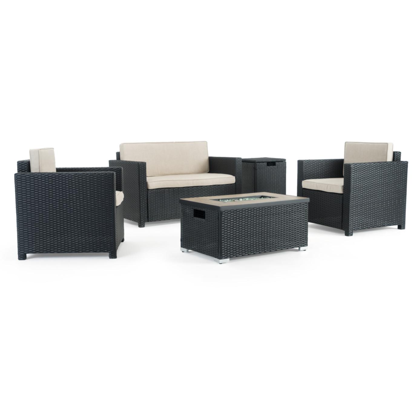 Boulder 4 Piece Fire Seating Set - Black